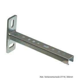 Schienenkonsole, verzinkt, Länge 200mm, 27x18x1,25mm