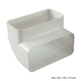 Flachkanal Bogen 90° aus Kunststoff, weiß, 150/70 mm