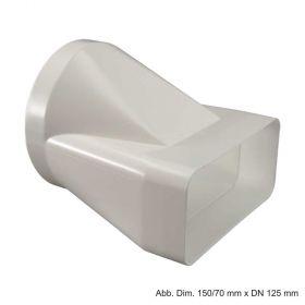 Flachkanal Anschluss-Stück aus Kunststoff, weiß, 150/70 mm x DN 125 mm
