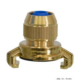 Messing Schnellkupplung mit Klemmverbindung 12-15 mm, Knaggenabstand 40 mm