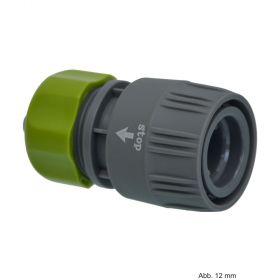 PVC-U Hydro-Fit Kupplung mit Wasserstop, Klemm x Klickmuffe 12 mm, Grau/Grün
