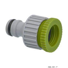 """PVC-U Hydro-Fit Hahnanschluss Reduzierstück, IG x Klickstecker 1/2-3/4"""", Grau/Grün"""