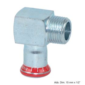 "Geberit Mapress C-Stahl Übergangswinkel 90° AG, 12mm x 3/8"""