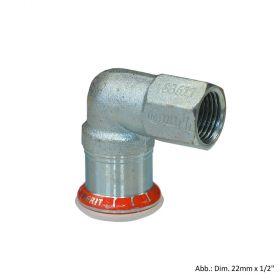 "Geberit Mapress C-Stahl Übergangswinkel 90° IG, 22mm x 1/2"""