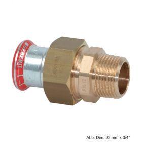 "Geberit Mapress C-Stahl Verschraubung m. AG flachdichtend, 15mm x 1/2"""