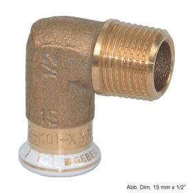 "Geberit Mapress Rotguss Übergangswinkel 90° AG, 12mm x 3/8"""