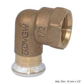 "Geberit Mapress Rotguss Übergangswinkel 90° IG, 12mm x 3/8"""