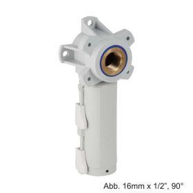 """Geberit PushFit Anschlussdose 16 x 16mm x 1/2"""", 90°, mit Schnellkupplung, Messing"""