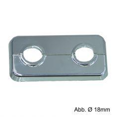 Klapprosetten doppelt, verchromt, Stichmaß 50 mm, Ø 15 mm
