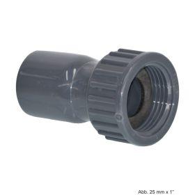 """PVC-U 2/3 Kupplung, aus Rohr hergestellt, Klebemuffe x IG, 16 bar, 25 mm x 1"""""""