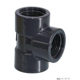 "PVC-U T-Stück 90°, Innengewinde, 10 bar, 3/8"""