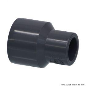 PVC-U Reduziermuffe, Klebestutzen/Klebemuffe x Klebemuffe, 10 bar, 160/140 mm x 90 mm