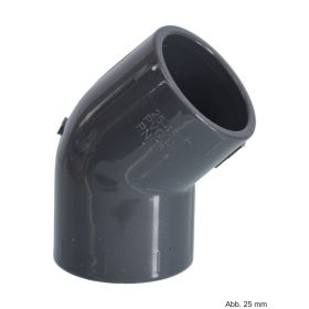 PVC-U Winkel 45°, Klebemuffe, 16 bar, 160 mm