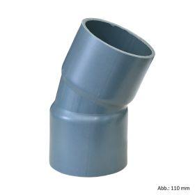 PVC-U Bogen 22°, aus Rohr hergestellt, Klebemuffe, 12,5 bar, 90 mm