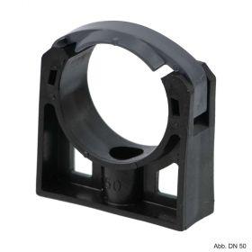 PP Rohrschelle mit extra Halteclip, 110 mm, schwarz