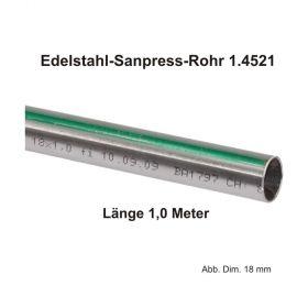 Viega Edelstahlrohr Sanpress nickelfrei 1.4521 in 1,0 m Stange, 15 x 1 mm