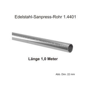 Viega Edelstahl-Sanpress-Rohr 1.4401, Länge 1,0m, 15 X 1,0 mm