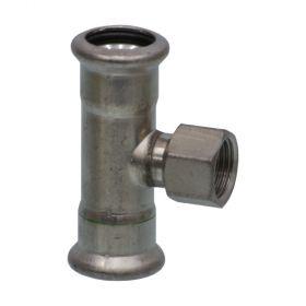 """SEPPELFRICKE Edelstahl XPS130G, T-Stück mit IG, 15 mm x 1/2"""" x 15 mm"""