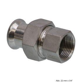 """SEPPELFRICKE Edelstahl XPS330G, Durchgangsverschraubung I/IG, 15 mm x 1/2"""""""
