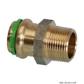 "SEPPELFRICKE Sudo-Press Kupfer/Rotguss VC243G Übergangsnippel mit AG, 12 mm x 3/8"""