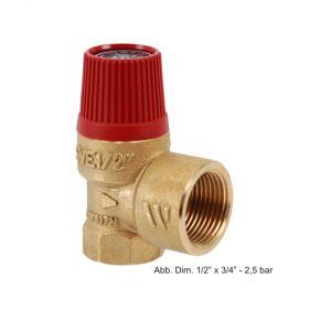 """Membran-Sicherheitsventil für Heizungsanlagen 1/2"""" x 3/4"""" - 2,5 bar"""