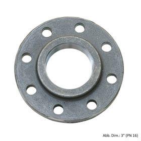 """Gewindeflansch aus Stahl, schwarz, PN 16, LK d=145mm, SZ = 8, DN 65 (2 1/2"""")"""