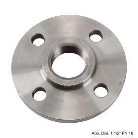 """Gewindeflansch aus Stahl, schwarz, PN 16, LK d=85mm, SZ = 4, DN 25 (1"""")"""