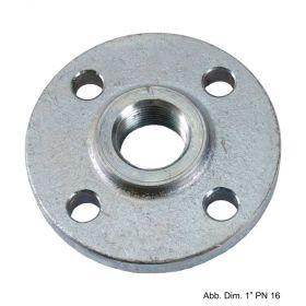 """Gewindeflansch aus Stahl, verzinkt, PN 16, LK d=65mm, SZ = 4, DN 15 (1/2"""")"""