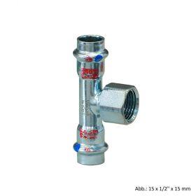 "Viega Prestabo labs-frei, Modell 1117.2LF T-Stück mit IG, 15mmxRp1/2""x15mm"