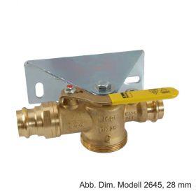 Viega Profipress-G Montageset f. Gaszählerkugelhahn m. Gasströmumgsw. Typ K, Modell 2645S, 28mm x (2,5)