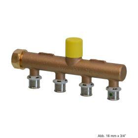 """Viega Sanfix P-Verteiler, Modell 2126.05, Rotguss, 16mm x G 3/4"""" 4-fach"""