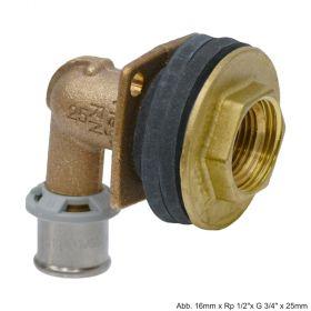 """Viega Sanfix P-Wanddurchführung, Modell 2132.11, Rotguss, 16mm x Rp 1/2""""x G 3/4"""" x 18mm"""